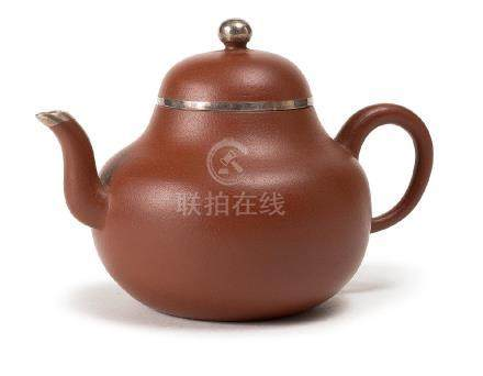 A SILVER-INLAID ZHUNI TEAPOT WITH MARK OF MENG CHEN