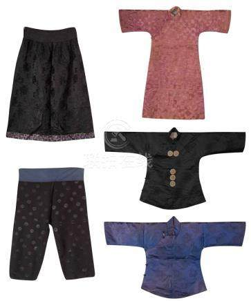 A GROUP OF EMBROIDERED SILK SATIN, SKIRT, PANTS AND