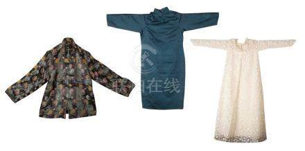 A GROUP OF EMBROIDERED SILK CHEONGSAM AND A FORMAL