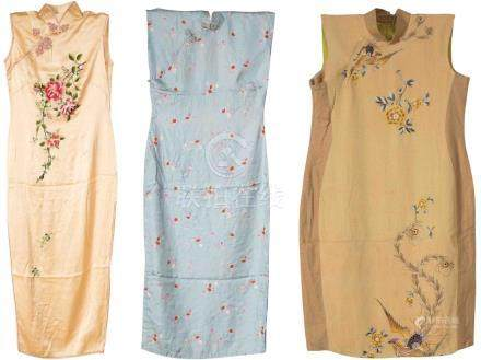 A GROUP OF EMBROIDERED SILK CHEONGSAM
