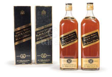 TWO BOTTLES OF JOHNNIE WALKER WHISKY, 1980 PERIOD
