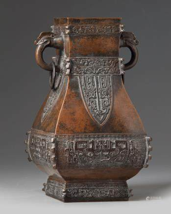 A Chinese bronze archaistic vase, hu