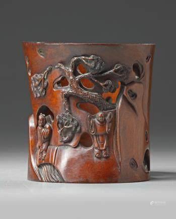 A Chinese hongmu 'figural' brush pot