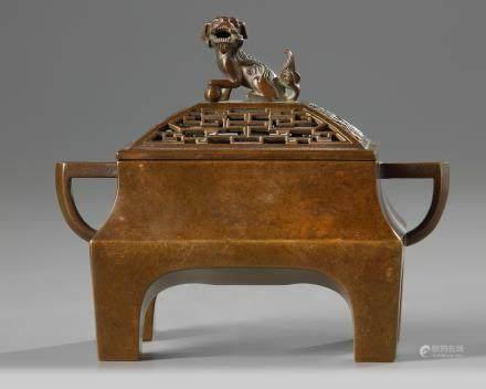 A Chinese rectangular bronze censer