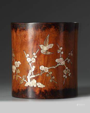 A Chinese  pearl of mother inlaid brush pot