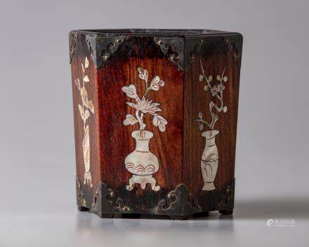 A Chinese hexagonal mother of pearl inlaid brush pot, bitong