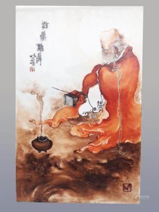 民國王步瓷板畫