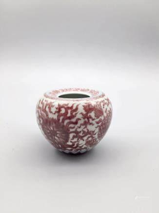 清康熙釉裡紅小水盂