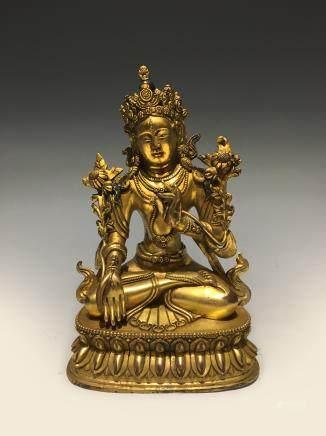 十六世纪铜鎏金莲花手坐观音
