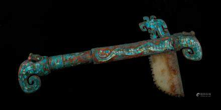 商代 嵌松石镶玉龙首手杖