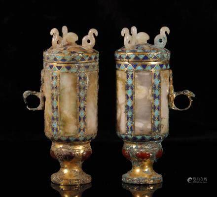 汉代 铜鎏金嵌松石玛瑙嵌玉龙首扳耳杯一对