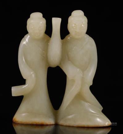 汉代 双联玉舞人