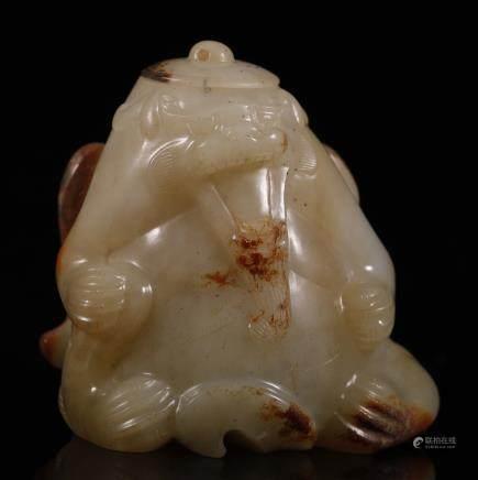 汉代 翼熊盖罐