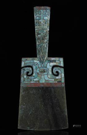 商代 青铜嵌松石兽面纹玉鉞