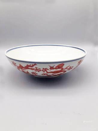 明代礬紅龍紋碗