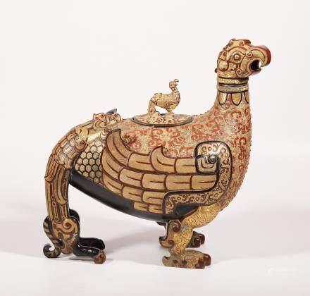 战国 铜胎彩绘凤鸟尊