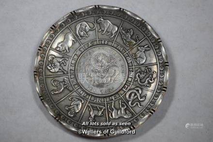 A Chinese coin dish decorated with signs of the zodiac.