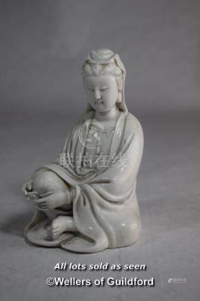 A Chinese blanc de chine figure of a seated goddess, 12cm