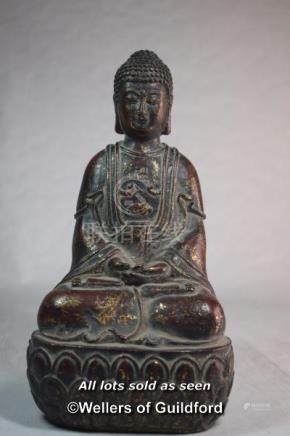 A Chinese cast metal figure of buddha, 24cm.