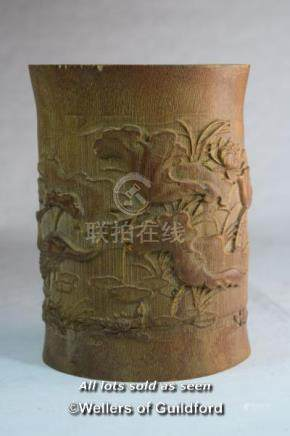A Chinese bamboo brush pot, 17.5cm