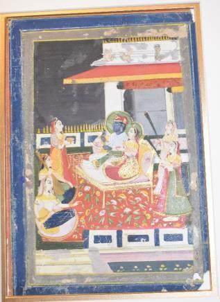 A Kota picture, dignitaries, attendants and musicians on a veranda, gouache, some loss, 20 x 40