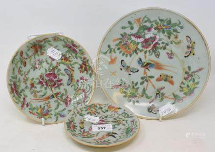 A Cantonese famille rose plate, decorated birds, butterflies and foliage, 22.5 cm diameter, and