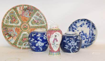 A large group of Chinese ginger jars, vases and other items (2 boxes)