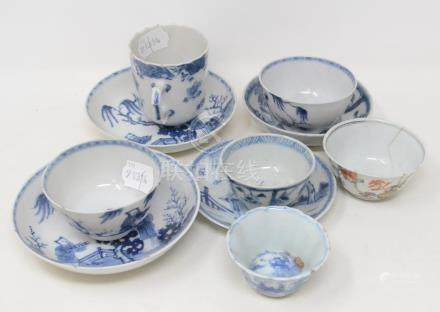 A group of Chinese porcelain tea bowls and saucers, decorated in underglaze blue, some damage