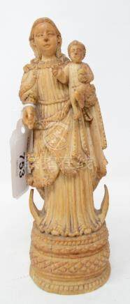 A Goan carved ivory group, the Madonna and Child, probably late 18/early 19th century, slight