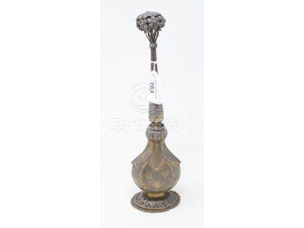 An Indian silver coloured metal rosewater sprinkler, 31 cm high