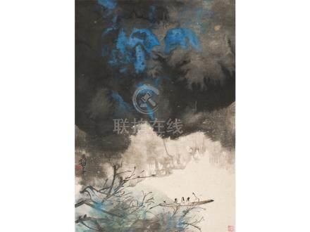 張大千  潑彩峽江夜遊圖  李喬峰  舊藏