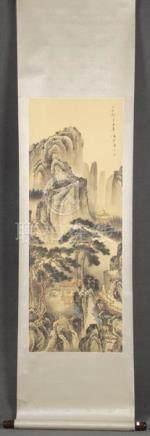 Seiden-Rollbild. Asien. Bunt bemalt mit Landschaft, re./o./sign., 101 x 38 cm.