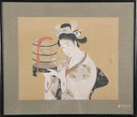 Japanisches Seidenbild, bunt bemalt mit Geisha, re./u./sign., hi./Gl./gerahmt, 42 x 50 cm.