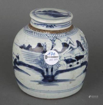 Deckelgefäß. China. Porzellan, unterglasurblau bemalt mit Landschaft, H=17 cm.