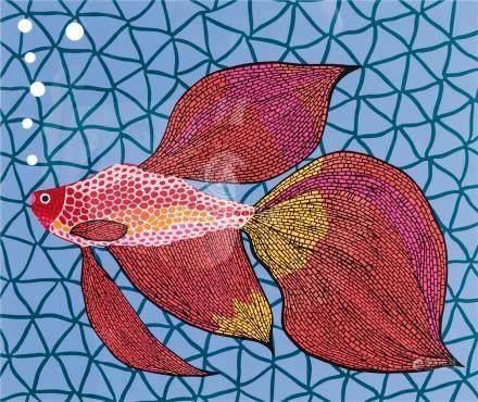 草间弥生(b.1929) 金鱼48/100 版画 镜框 设色纸本