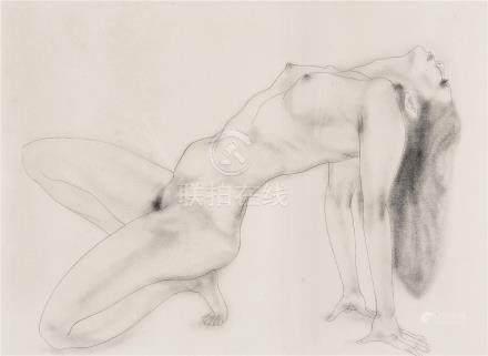 加山又造(1927~2004)人体素描版画 镜框 纸本