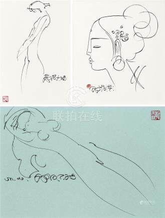 韩美林(b.1936) 人体素描 人像素描 (三帧) 镜框 水墨纸本