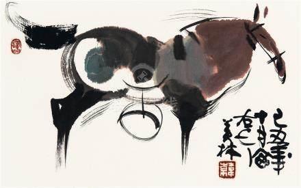 韩美林(b.1936) 骏马 镜框 设色纸本