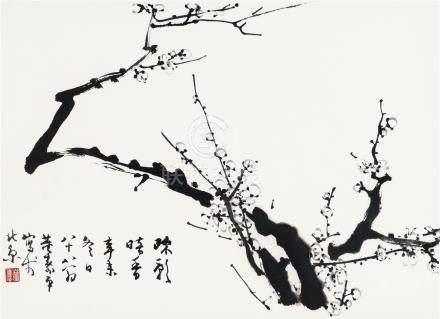 董寿平(1904~1997) 1991年作 疏影暗香 镜框 水墨纸本