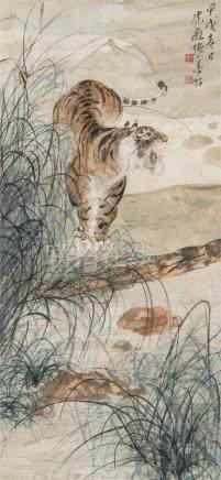 张善孖(1882~1940) 1934年作 威震山林 立轴 设色纸本