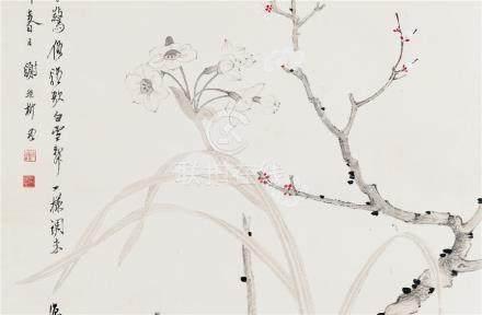 谢稚柳(1910~1997)  1942年作 双清 立轴 设色纸本