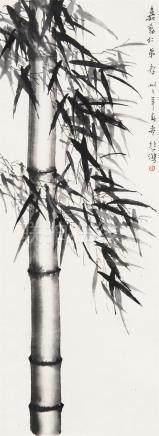 徐悲鸿(1895~1953)  1944年作 竹 立轴 水墨纸本