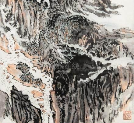 陆俨少(1909~1993)  1988年作 层峦迭秀 立轴 设色纸本