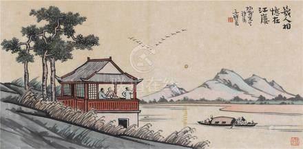 丰子恺(1898~1975)  几人相忆在江廔 镜心 设色纸本