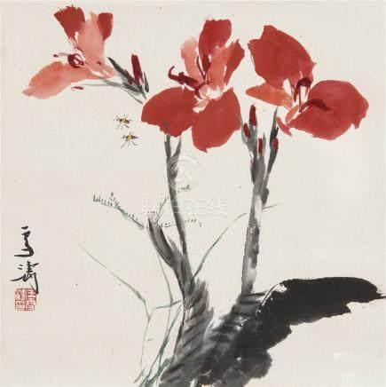王雪涛(1903~1982)  蜜蜂美人蕉 立轴 设色纸本