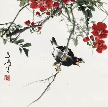 王雪涛(1903~1982)  凌霄八哥 立轴 设色纸本