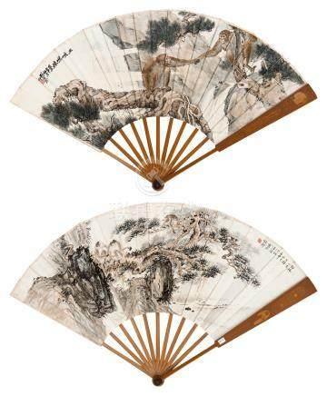 刘奎龄 汪溶  1932年作 巫峡啼猿 成扇 设色纸本