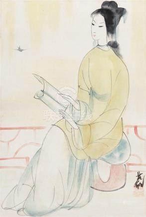 林风眠(1900~1991)  仕女 立轴 设色纸本
