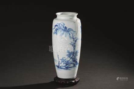 王步风格 青花山水纹瓶