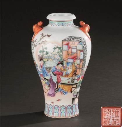 魏慵生  50-70年代 粉彩人物纹双蝠耳瓶